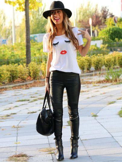 White Short Sleeve Eyelash Lip Print T-Shirt