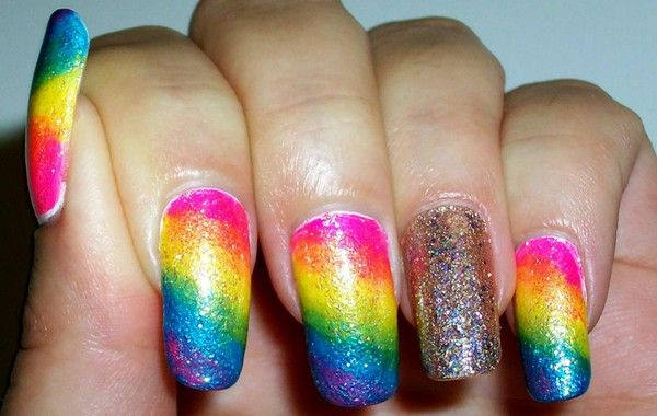 Rainbow On Cloudy Nails   Nail Move.com