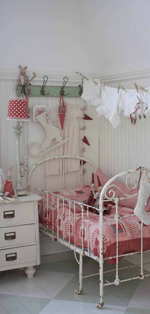 Bedroom , Shabby Chic Look For Kids Bedroom : Shabby Chic Look For Kid  Bedroom With Vintage Bed Frame And Nightstand And Hooks And Sideboard