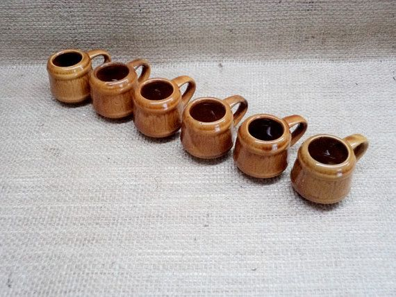 Vintage set of 6 small coffee Cups Brown porcelain cups