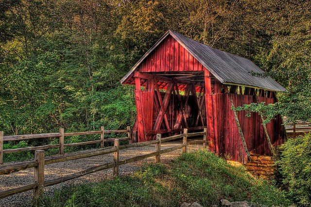 Campbell's Covered Bridge, built in 1909 located outside Greenville South Carolina.