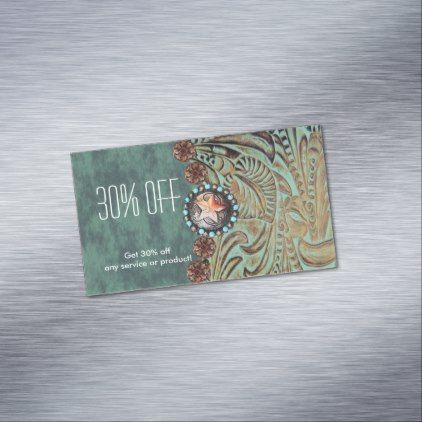 elegant teal tooled leather promotional magnetic business card - beautiful gift idea present diy cyo