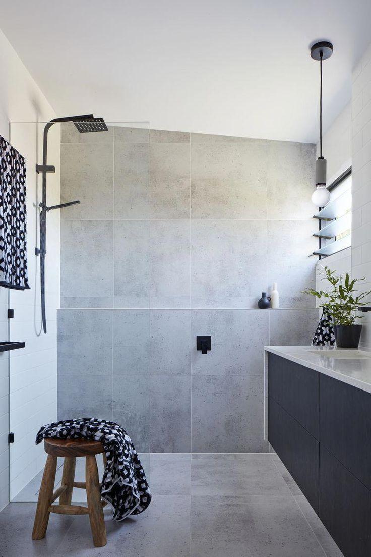 Dark Vanity dark faucets grey tile in bath on back wall white counter/sing w   – Bathroom Grey