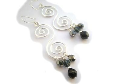 Wire Double Spiral Earrings £12.00 Handcrafted silver plated (non-tarnish) wire earrings, with black, dark blue and dark grey firepolished glass beads on handmade earwires.