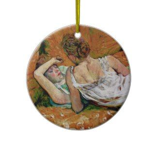 Two Friends by Toulouse-Lautrec  (Version 2) Christmas Tree Ornament