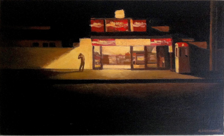 artist: Robert Brownhall  title: Boomerang Cafe, Kangaroo Point  medium: oil  size: 55 x 90