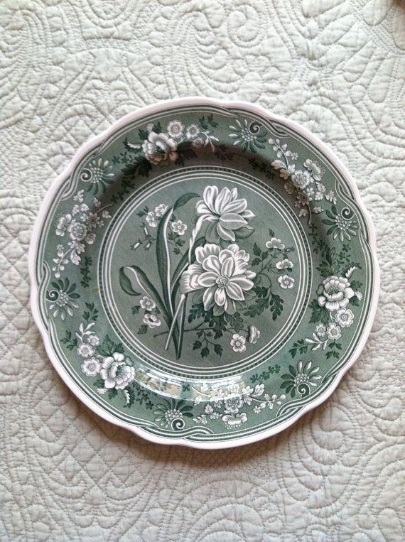 "Spode green transferware plate.  ""Botanical""  $18.00"
