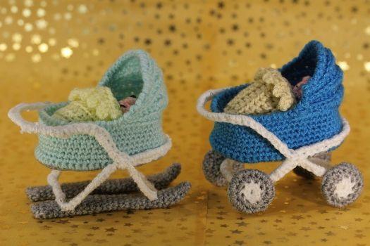 Sweepies - Häkelanleitung Kleiner Kinderwagen & Baby