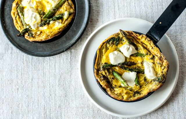 Grilled asparagus, soft cheese and mint frittata- Bruno Loubet