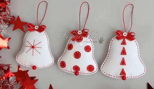 10 Modelos de Campanas navideñas Hechas en fieltro Con molde para imprimir14