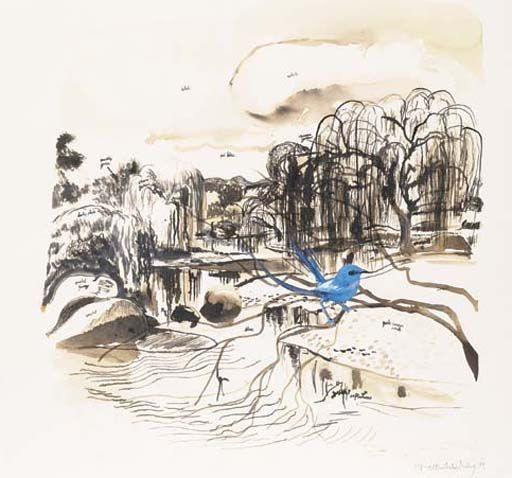 Brett Whiteley, Blue Wren, Ink, watercolour, acrylic and collage on paper