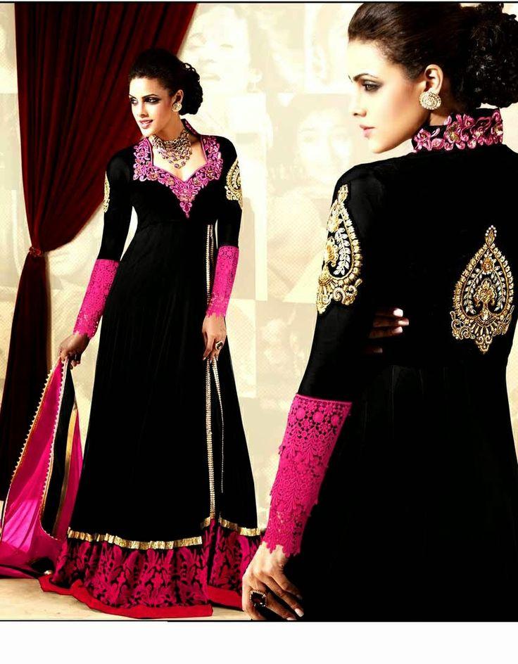 Designer Pink & Black Suit Net Top With Santoon Bottom & Chiffon Dupatta Heavy Embroidery Work | Panch Naina