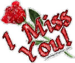 rose glitter graphics | Miss You Red Glittered Rose