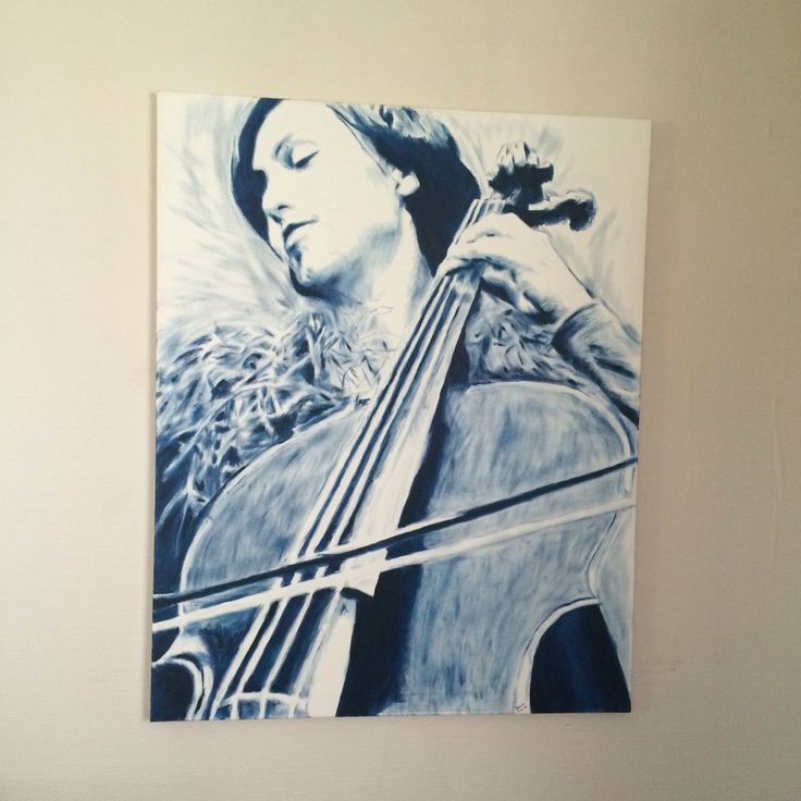 Oil painting. Title: Sonata In Prussian Blue.