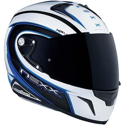 Nexx XR1R Carbon Speed motorcycle helmet, in White/Blue.