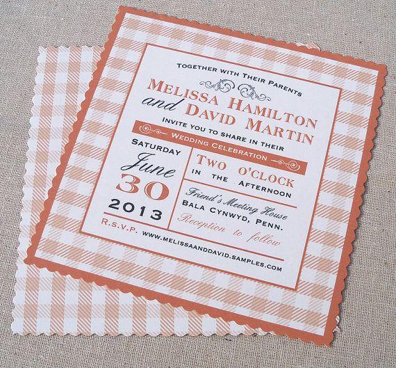 Gingham wedding invitation  picnic wedding by ArtfulBeginnings, $3.00