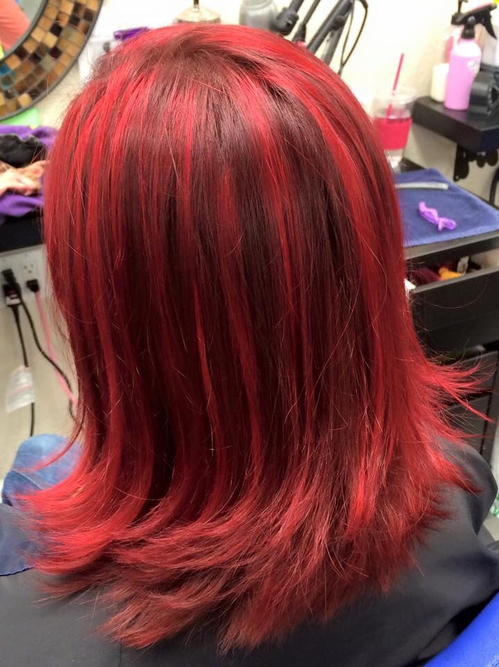 Bright Red Highlights In Brown Hair Hairs Picture Gallery