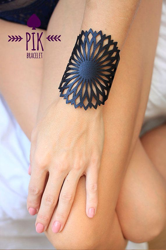 Leather Bracelet cuff, Leather Cuff, Ladies Leather Bracelets, Black Leather no3 by PikBracelet on Etsy
