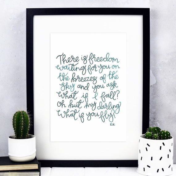 There Is Freedom Print  Hand-Lettered Print  Inspirational