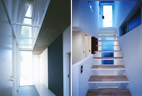 This house is sited on 322 sq. ft. corner lot in Tokyo with only 899 sq. ft. of total floor space. But the architect has designed this Penguin house to be seemed larger. Yasuhiro Yamashita, the architect of Atelier Tekuto has manipulated the ceiling height and the natural light is streamlined to get the feeling of larger space inside the house