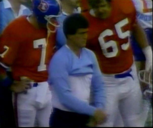 Quarterback CRAIG MORTON (7), head coach DAN REEVES and offensive lineman GLENN HYDE (65)--November 29, 1981