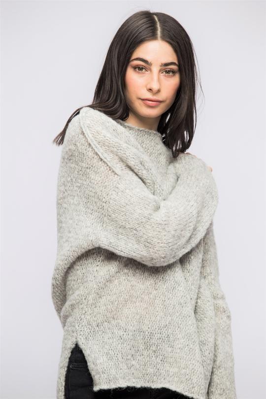 92584bfab Light grey alpaca oversized woman knit sweater.