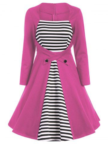 GET $50 NOW   Join RoseGal: Get YOUR $50 NOW!http://www.rosegal.com/plus-size-dresses/square-collar-stripe-plus-size-1035817.html?seid=2275071rg1035817