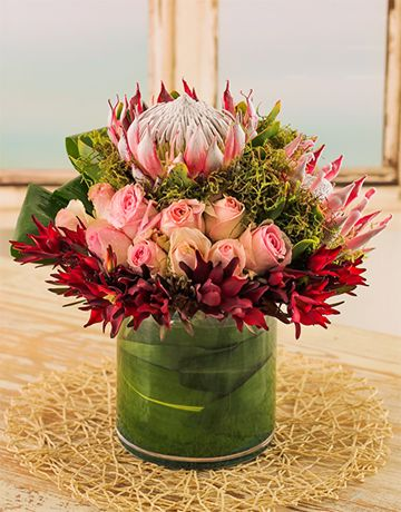 Flowers: King Protea and Rose Arrangement in Glass Vase!