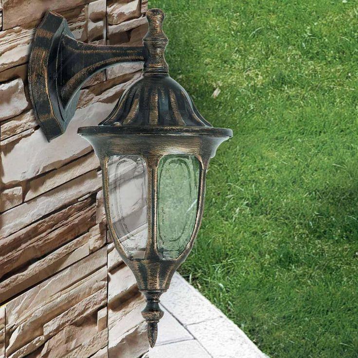 A2407N Wand Leuchte Ø165mm/ 1x60W/ Außen/ Antik Golden/ Laterne Garten Hof Lampe