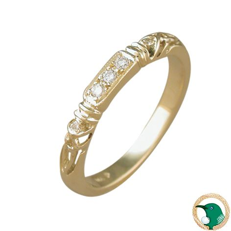 Trinity Celtic Diamond eternity ring - Style pictured 18ct yellow gold Celtic eternity ring featuring the Celtic trinity knot in the shoulders - with three .02ct diamonds pave set along the top of the ring, and two .005ct diamonds set in the trinity knots (TDW .07ct) G colour SI1 clarity.