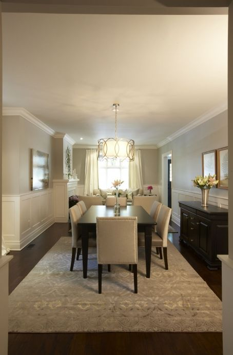dining rooms - Troy Sausalito Five-Light Drum Pendant greige walls espresso stained dining table ivory leather dining chairs nailhead trim espresso stained buffet gray blue rug wainscoting