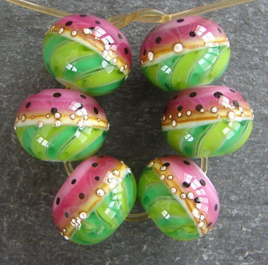 Lampwork beads 397 Rounds 6 Watermelon by beadgoodies on Etsy, $28.00
