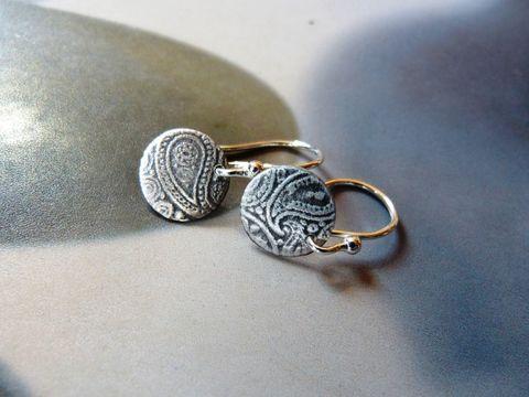 Paislay mintás korong ezüst fülbevaló  (kicsi), Ékszer, óra, Fülbevaló, Meska