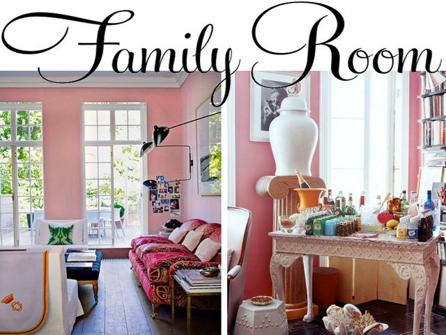 Pink (click link for complete story and more rooms): Click Link, Living Rooms, Dreams Home, Complete Stories, Dreams Rooms, Dream Homes, Pink Interiors, Pink Click, Families Rooms