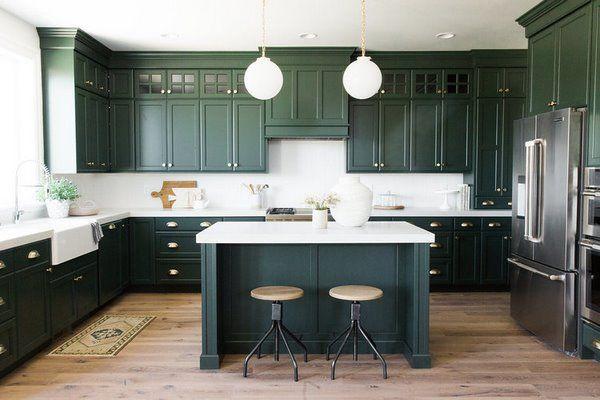 Elegant Dark Green Kitchen Cabinets Apron Sink Wood Flooring Dark Kitchen Green Kitchen Cabinets Dark Green