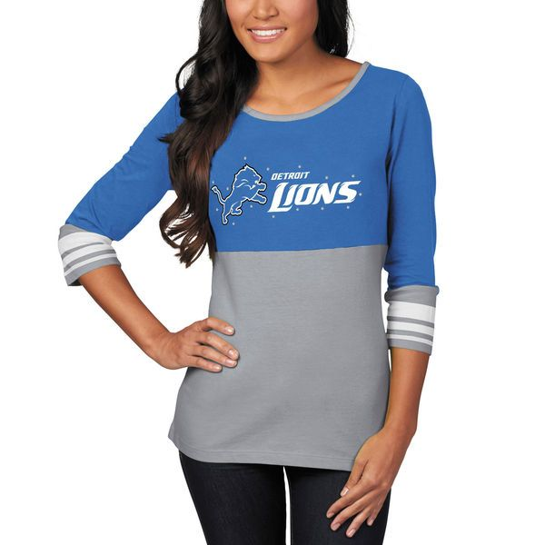 Detroit Lions Majestic Women's Roster Push Three-Quarter Length T-Shirt - Blue - $34.99