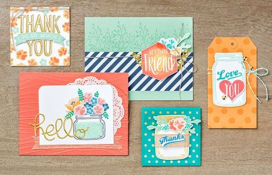 Stampin' Up! Cards - Jar of Love and Scenic Sayings Stamp Sets and the Everyday Jars Framelits Dies