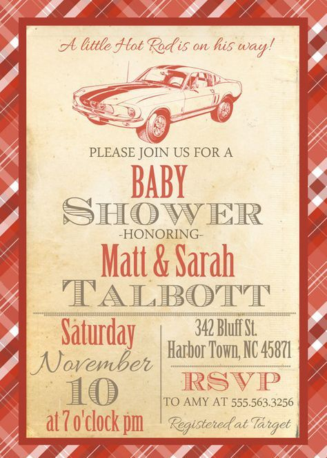 Little Hot Rod Vintage Baby Shower Invite by themilkandcreamco