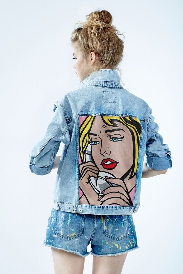 "Hand painted denim jacket ""Phone"", decorated with detachible ostrich feathers. 100% cotton www.dariaymaria.com"