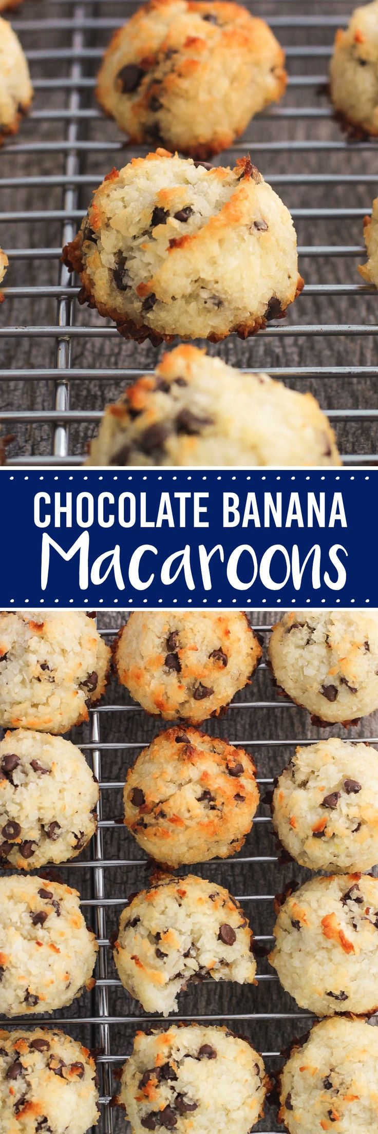 Chocolate banana macaroons are an easy and chewy coconut cookie that tastes like chocolate chip banana bread!