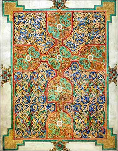 Evangelarium from the Lindisfarne Gospels, created around 700 A.D. at the island monastery of Lindisfarne, off the northeast coast of England.