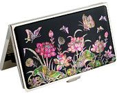 Lacquer Nacre Mother of pearl Business card holder credit ID card case lotus flower design