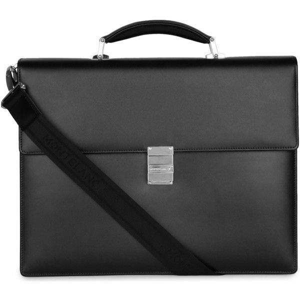 Montblanc Meisterstück leather briefcase ($990) ❤ liked on Polyvore featuring men's fashion, men's bags, men's briefcases and mens leather briefcase