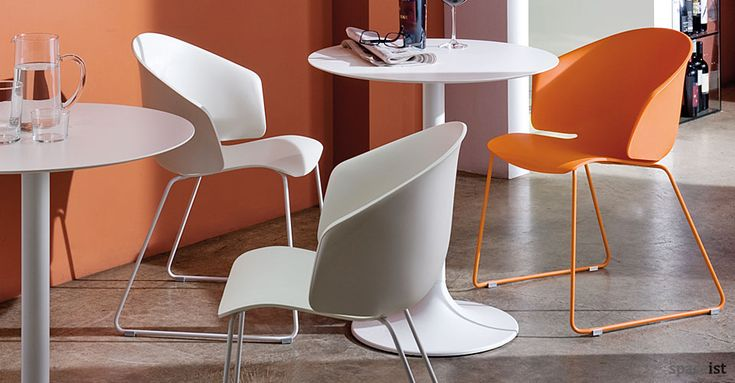 Dream white designer cafe tables with orange Grace cafe chairs   empire    Pinterest   Cafe tables and Work chair. Dream white designer cafe tables with orange Grace cafe chairs