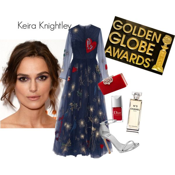 Keira Knightley per Golden Globe by una-pulkstene on Polyvore featuring moda, Valentino, Stuart Weitzman and Chanel