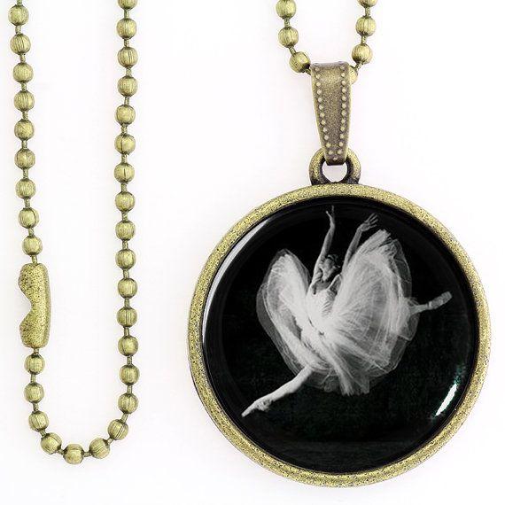 Dancing Ballerina Pendant. Ballet Black & White Photo Pendant, Ballerina Glass Dome Pendant, Ballet Dance Jewelry Necklace, ME30BR02K01