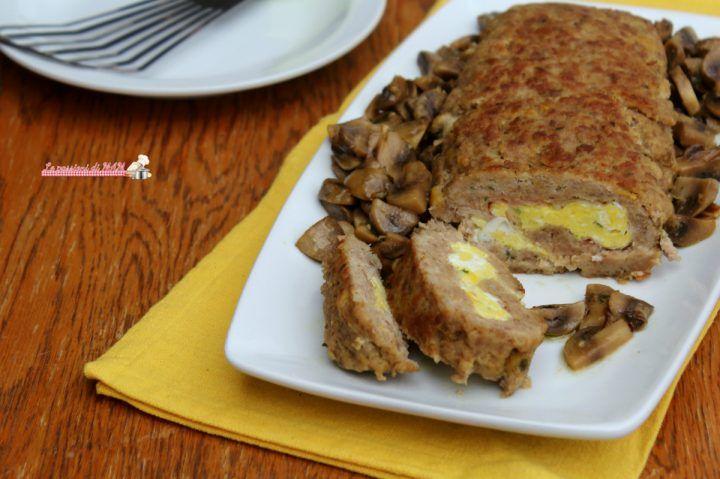 polpettone con pancetta e uova strapazzate