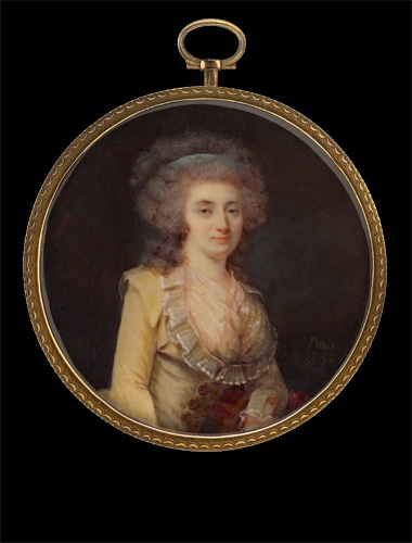 Nicolas Pinet    Lady in Yellow Gown with Blue Bandeau    1790: Portraits Miniatures, 1790 1799 Portraits, Century, 1750 1795 Redingotes, 1700, Portraits 1720 1794, Portraits 1790S
