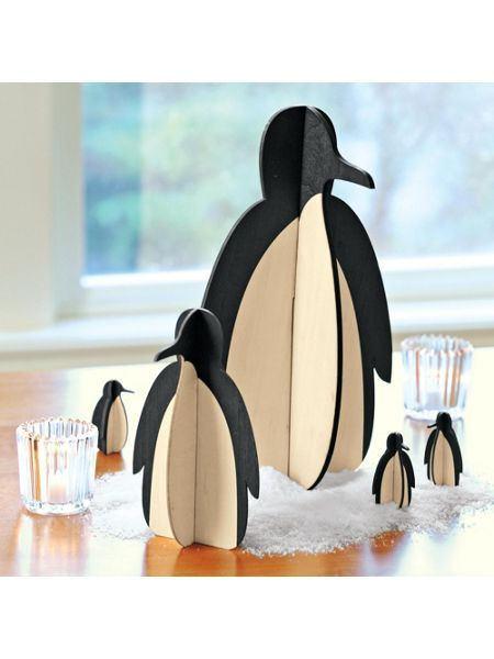 While these whimsical penguins may be spare in design, they're big on impact when it comes to holiday decorating. Made of poplar wood, they assemble and come apart easily, and store flat in a drawer until next year.