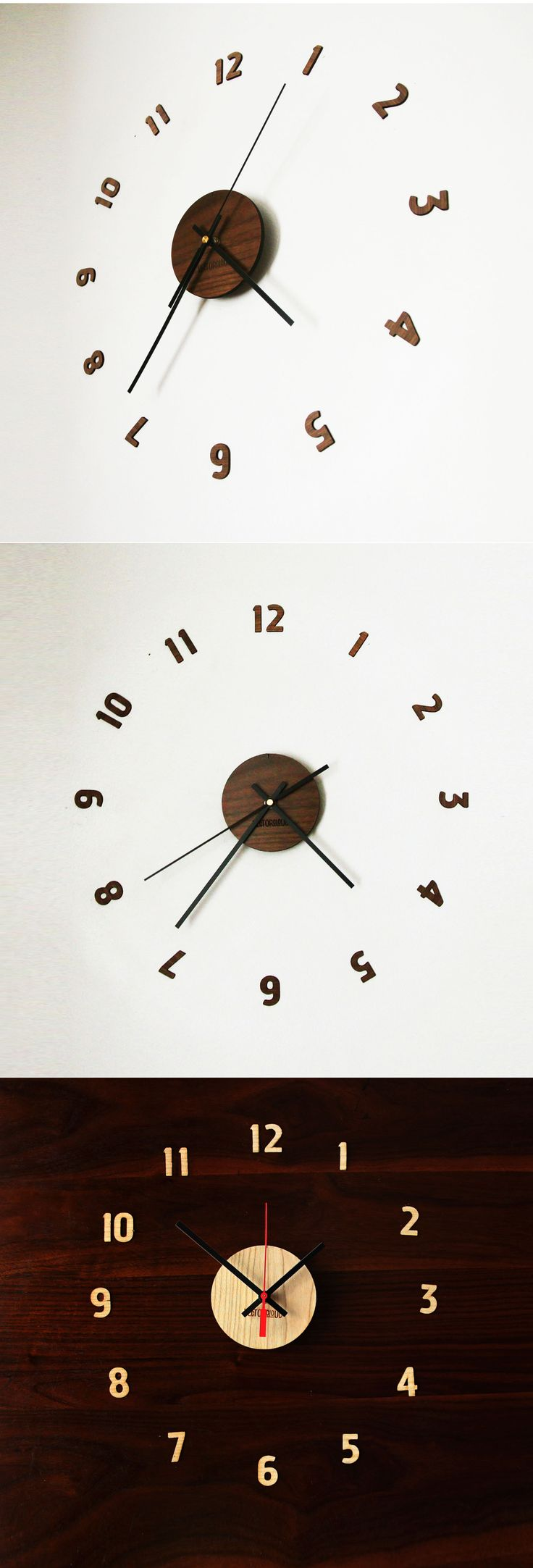 Laser cut wall clock comes in two beautiful wood finishes ...